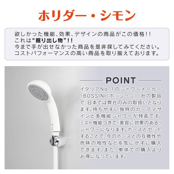ホリダー・シモン シャワーヘッドとホースのセット 3段切替 ミスト(節水 美肌 洗顔 やさしい浴び心地 ボッシーニ)GA-FH001 (直送品)