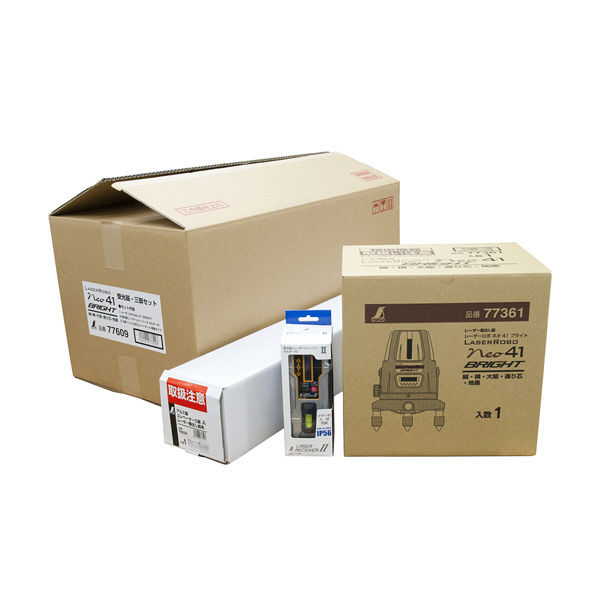 レーザーロボ Neo 41 BRIGHT 受光器・三脚セット 77609 シンワ測定 (直送品)