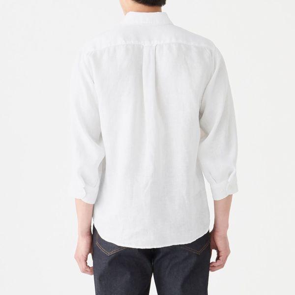 無印 ボタンダウン七分袖シャツ 紳士M