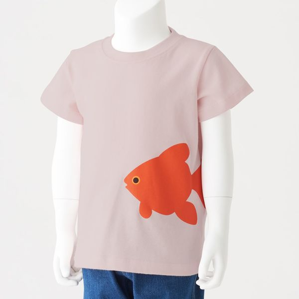 無印 天竺編みプリントTシャツ 100