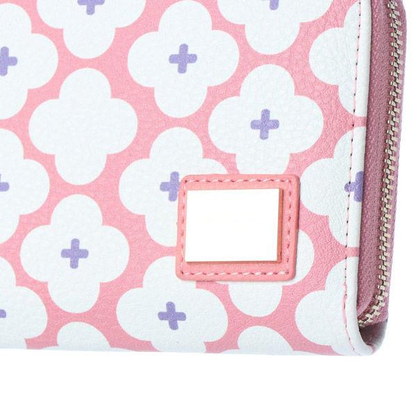 花柄ラウンドファスナー横長財布 ピンク