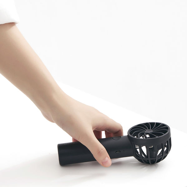 超小型ヘッド ポータブル扇風機 グレー