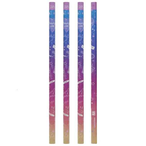 鉛筆 2B 4本組 シャイニーグラデ