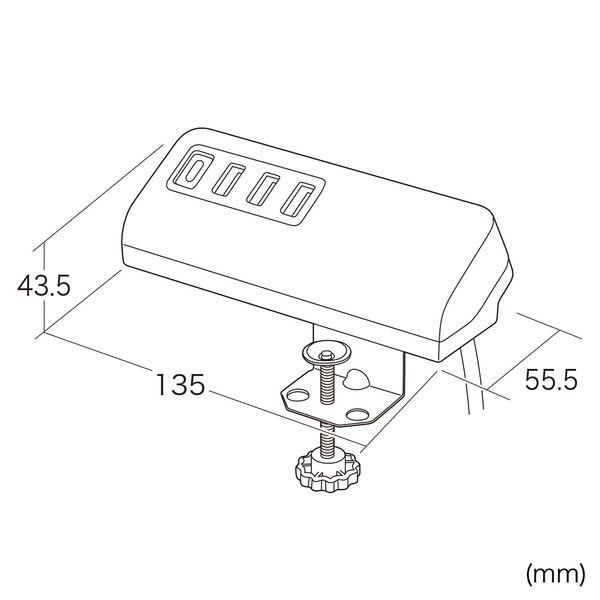 サンワサプライ クランプ式USB充電器(TypeC1ポート+USB3ポート・ホワイト) ACA-IP51W 1個 (直送品)