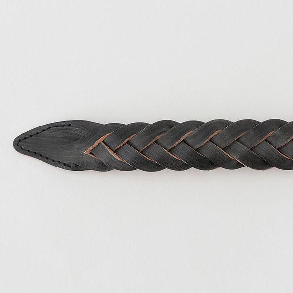 無印 ヌメ革手染め編みベルト 黒