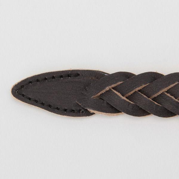 無印 ヌメ革手染め細帯編ベルト 黒