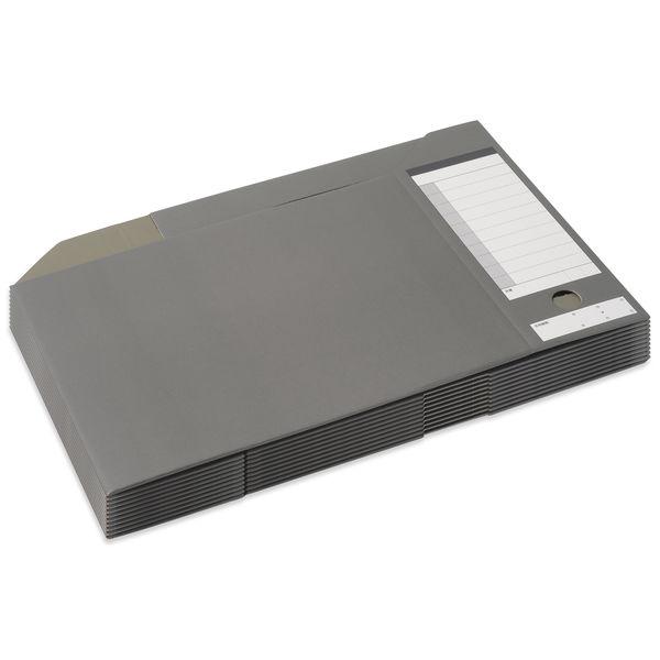 プラス ボックスファイル A4ヨコ 背幅100mm ダークグレー 87528