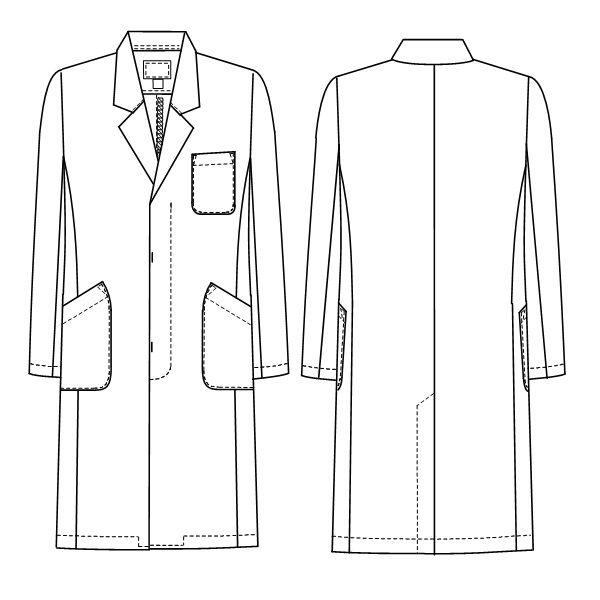 ナガイレーベン 男子シングル診察衣 長袖 ホワイト M EM-3015 (取寄品)