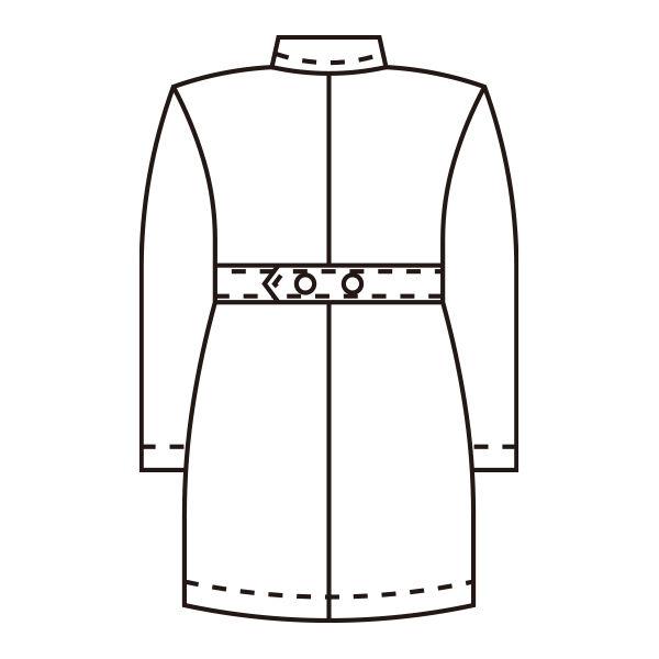 KAZEN 医療白衣 レディス薬局衣(ハーフ丈) シングル 長袖 261 サックス 3L ドクターコート 薬局衣