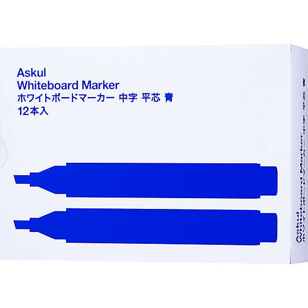 アスクル ホワイトボードマーカー 中字平芯 青 12本
