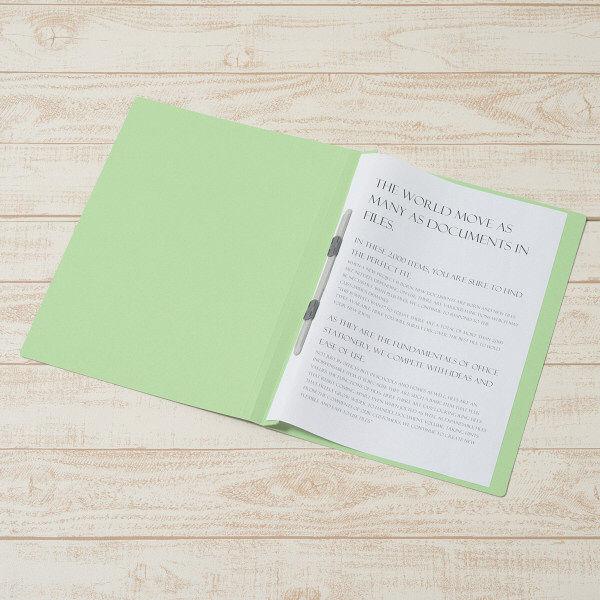 プラス フラットファイル(樹脂製とじ具) B4 タテ グリーン 2穴 No.011N 1箱(100冊:10冊入×10袋) (直送品)