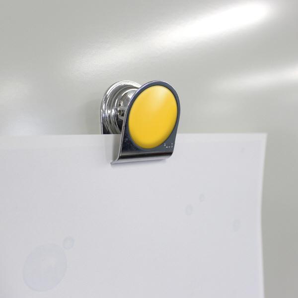 プラス カラーマグネットクリップ(小)イエロー 80568 1箱(10個入)