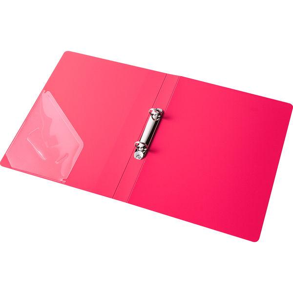 アスクル リングファイル丸型2穴 A4タテ 背幅27mm レッド 60冊