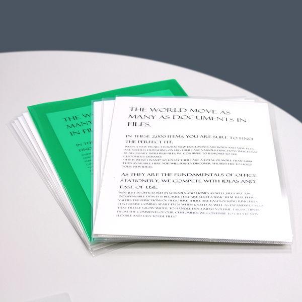 プラス カラークリアホルダー A4 1セット(30枚) 濃色グリーン