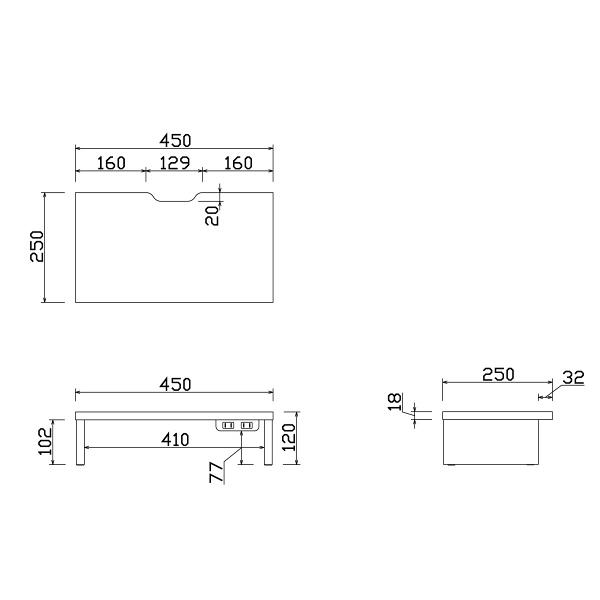 アール・エフ・ヤマカワ マルチスタンド 電源付き W450 ホワイト 1台(2梱包)