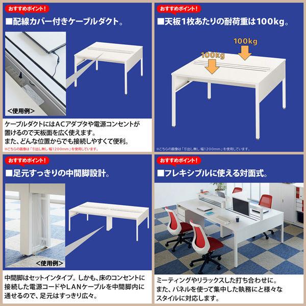 イトーキ(ITOKI) サリダLFデスク フリーアドレスデスク 引出し付き ホワイト  幅2400×奥行1400×高さ720mm  1台(10梱包)