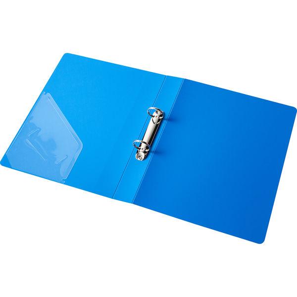 アスクル 丸型リングファイル(2穴)A4タテ背幅39mmブルー 1セット(30冊)