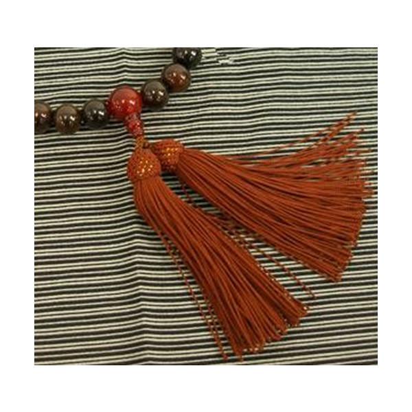 数珠 縞黒檀 22玉瑪瑙(メノウ)