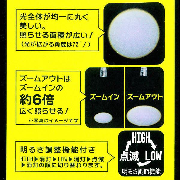 ズーム機能付き広角LEDライト270Lm