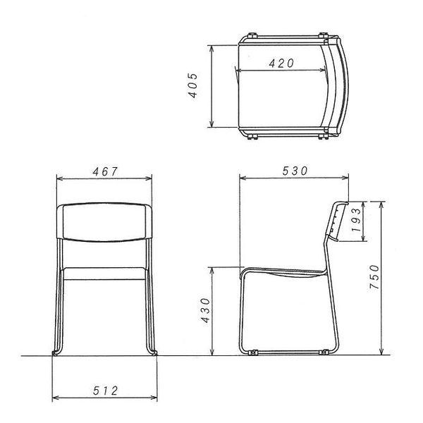 サンケイ スタッキングチェア CM371 布張り ネイビー 10脚(5脚入×2箱)