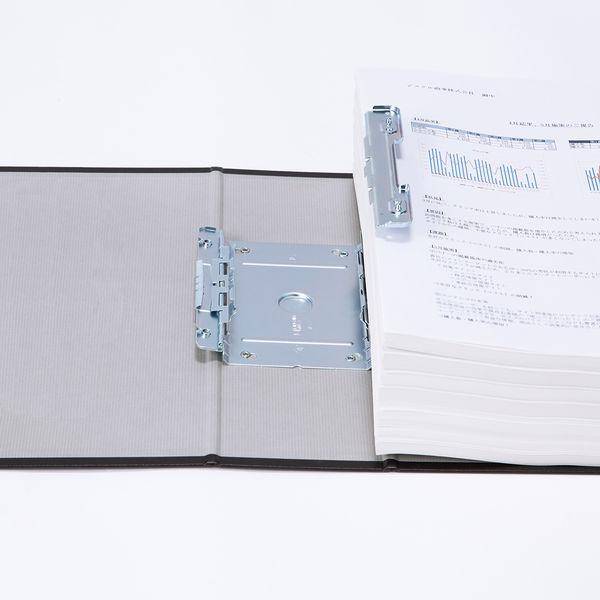 アスクル パイプ式ファイル(両開き) A4タテ とじ厚80mm ユーロスタイル ブラック