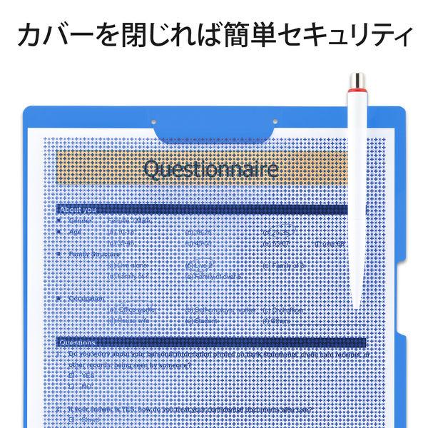 プラス クリップ付ボードホルダー カモフラージュ マリンブルー FL-130CH(89484) 1枚