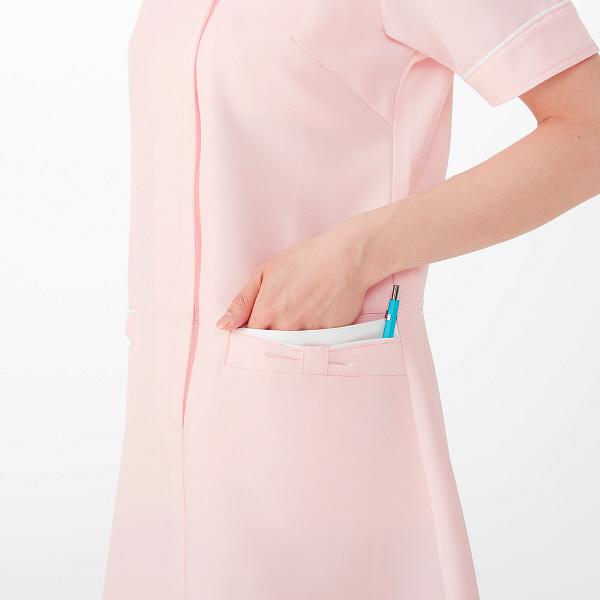AITOZ(アイトス) アシンメトリーカラーワンピース ナースワンピース 医療白衣 半袖 ピンク×ホワイト M 861114