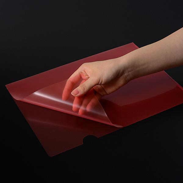 高透明クリアーホルダー A4 赤 10枚