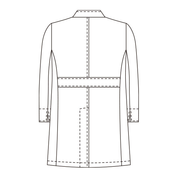 KAZEN メンズジップアップ診察衣(ドクターコート ハーフ丈) 113-90 ホワイト M