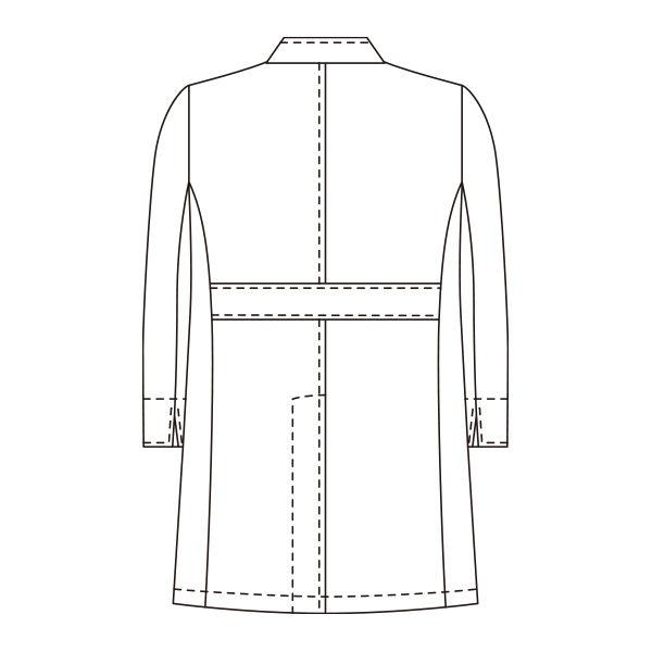 KAZEN メンズジップアップ診察衣(ハーフ丈) ドクターコート 長袖 ホワイト LL 113-90