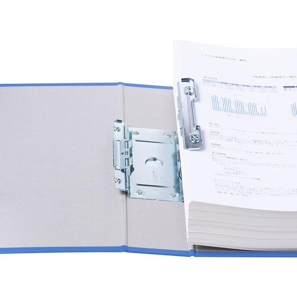 アスクル パイプ式ファイル 両開き ベーシックカラースーパー(2穴)A4タテ とじ厚60mm背幅76mm ブルー