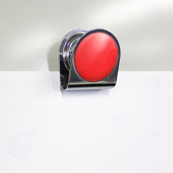 プラス カラーマグネットクリップ(大)レッド 80564 1個