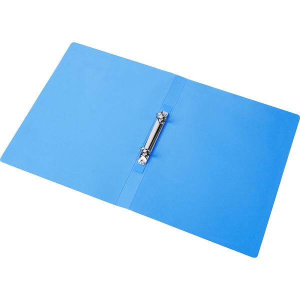 ハピラ リングファイル丸型2穴 A4タテ 背幅25mm 5冊 カラバリ ブルー