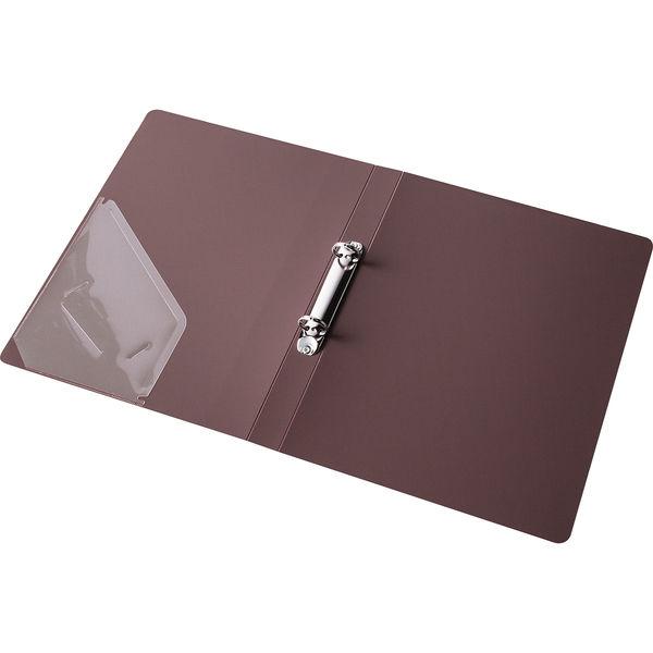 アスクル リングファイル丸型2穴 A4タテ 背幅27mm ブラウン 3冊