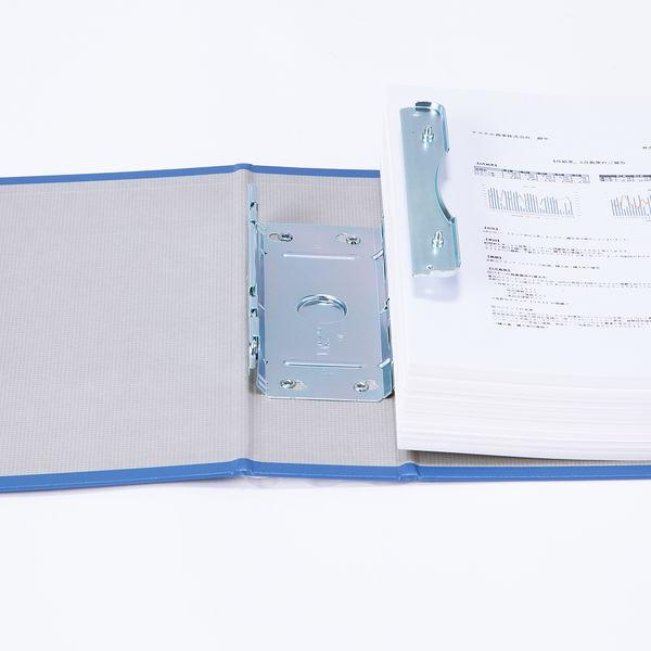 アスクル パイプ式ファイル片開き ベーシックカラー(2穴) A4ヨコ とじ厚50mm背幅66mm ブルー