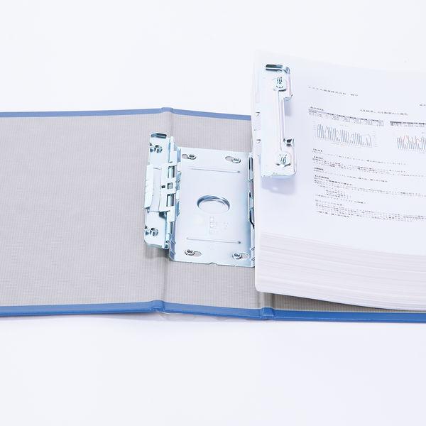 アスクル パイプ式ファイル 両開き ベーシックカラースーパー(2穴)A4ヨコ とじ厚50mm背幅66mm ブルー 3冊
