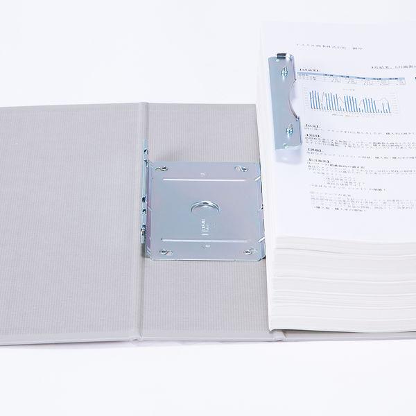アスクル パイプ式ファイル片開き ベーシックカラー(2穴) A4タテ とじ厚80mm背幅96mm グレー 3冊
