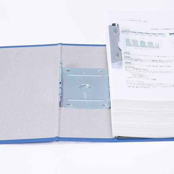 アスクル パイプ式ファイル片開き ベーシックカラー(2穴) A4タテ とじ厚80mm背幅96mm ブルー 3冊