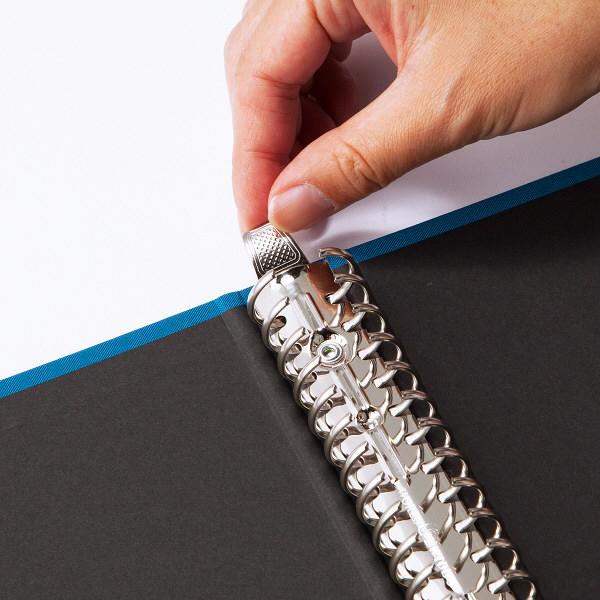 布貼りリングファイル 30穴 A4タテ 背幅34mm 10冊 アスクル ブルー