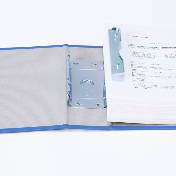 アスクル パイプ式ファイル片開き ベーシックカラー(2穴) A4ヨコ とじ厚50mm背幅66mm ブルー 10冊