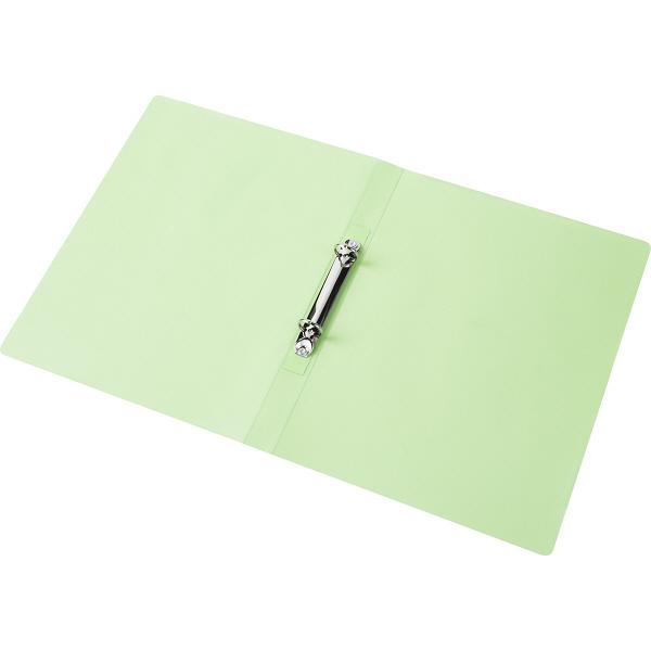 ハピラ リングファイル丸型2穴 A4タテ 背幅25mm 12冊 カラバリ グリーン