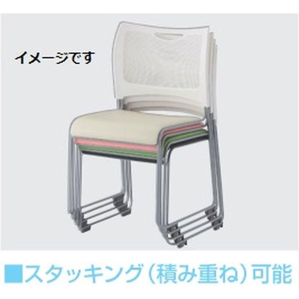 アイリスチトセ 樹脂メッシュスタッキングチェア ホワイト/グリーン 4脚セット (直送品)