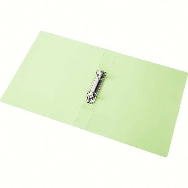 ハピラ リングファイル丸型2穴 A4タテ 背幅40mm カラバリ グリーン