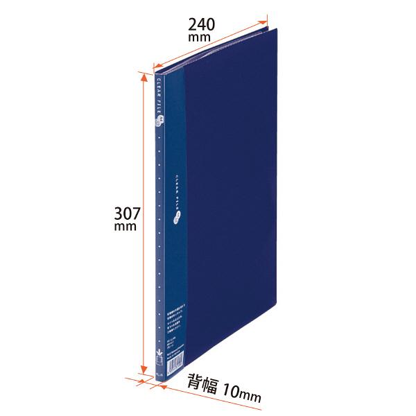 プラス スーパーエコノミークリアーファイル A4タテ 10ポケット ネイビー FC-121EL 88411
