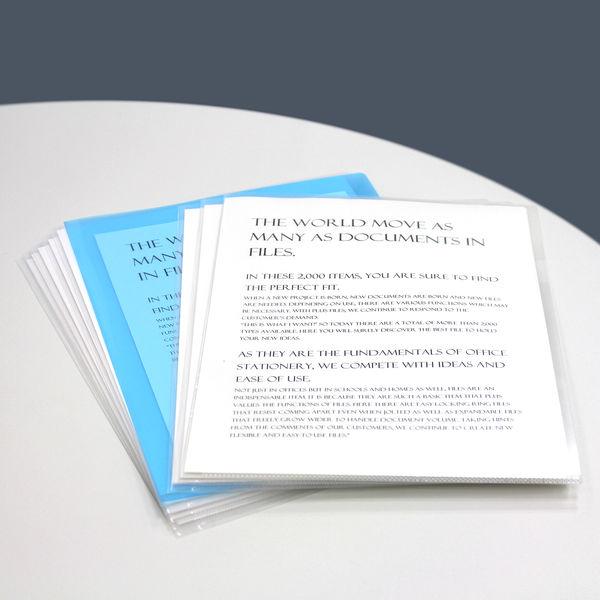 プラス カラークリアホルダー A4 1袋(100枚) ブルー