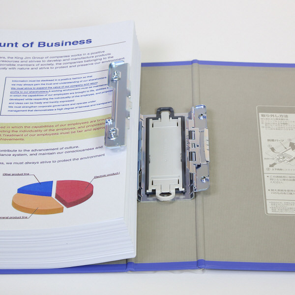 キングファイル スーパードッチ 脱着イージー A4タテ とじ厚50mm グレー キングジム 両開きパイプファイル 2475Aクレ