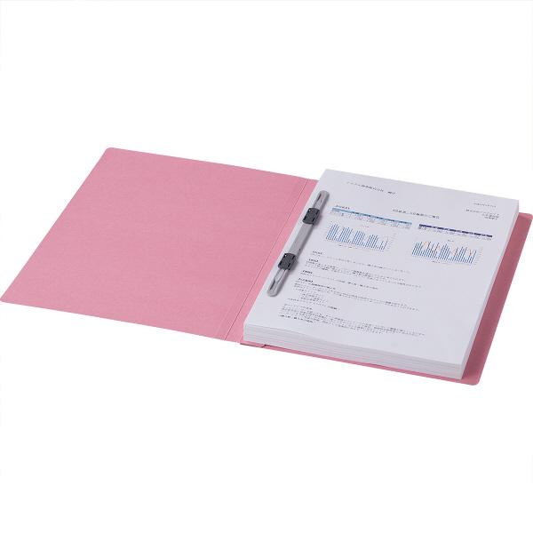 フラットファイル 上質表紙 A4タテ 100冊 ピンク アスクル