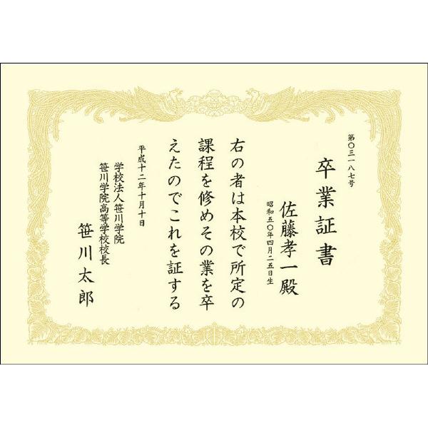 タカ印 OA賞状用紙 クリーム地 A4横型タテ書き 43-2167 1箱(100枚入)
