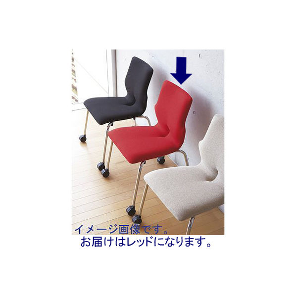 NOWY STYL GROUP コンベルサ ソフトフィットタイプ キャスター付 レッド 1箱(4脚入)