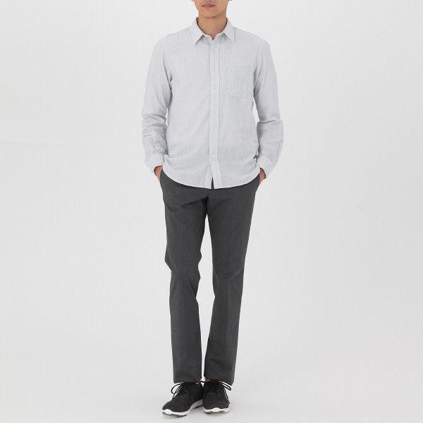 無印 二重ガーゼストライプシャツ 紳士L